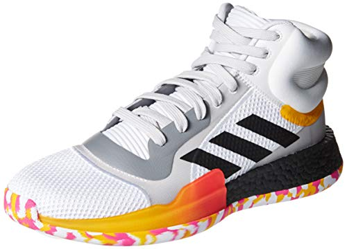 adidas Men's Marquee Boost Low Basketball Shoe, White/Black/Active Gold, 11 M US