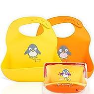 NatureBond Waterproof Silicone Baby Bibs For Babies & Toddlers (2 PCs) with Waterproof Pouch (Lemonade Yellow & Tangerine Orange)