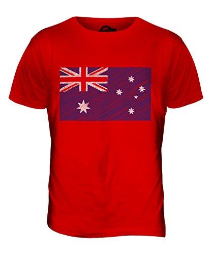 Candymix Australien Kritzelte Flagge Herren T Shirt, Größe X-Large, Farbe Rot