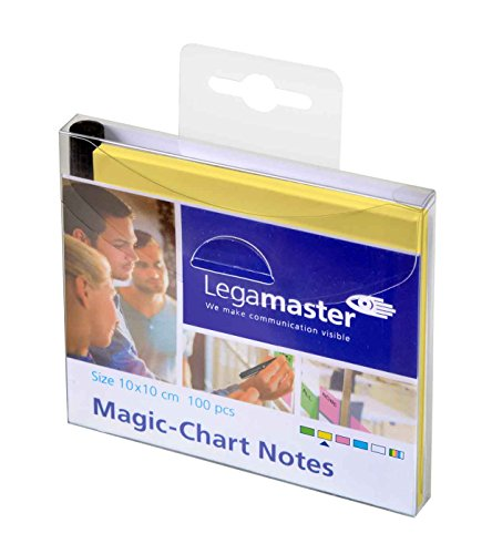 Legamaster 7-159505 Magic-Chart Notes, elektrostatische Haftnotizen, 10 x 10 cm, 100 Blatt, gelb