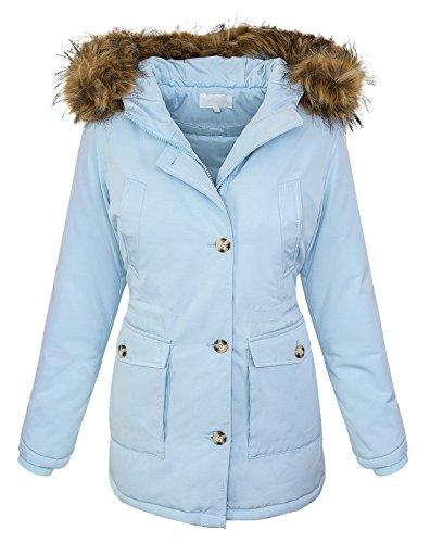 Rock Creek Selection Designer dames winterjas met natuurlijke bontkraag parka jas D-376 XS-XL