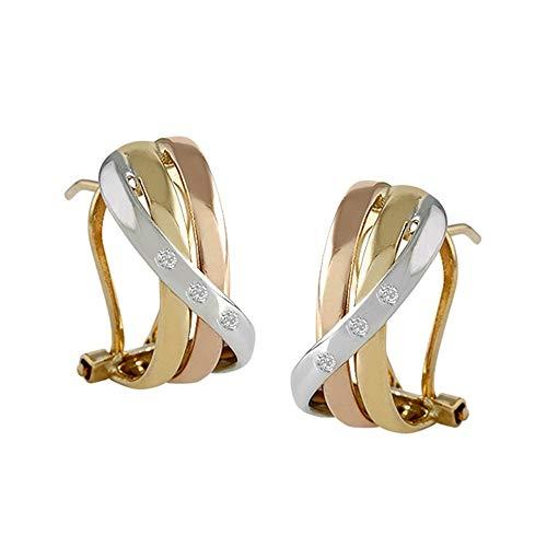 Pendientes oro tricolor 18k colección Venecia 16mm. bandas diamantes brillantes 0.03ct. cierre omega