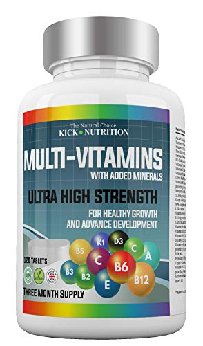 Multivitamins with Enhanced Zinc/Vitamin (D) + (C) + Turmeric - 120 Tablets (4 Month Supply) for Both Men & Women (27) Key Nutrient Ingredients - Suitable for Vegetarians