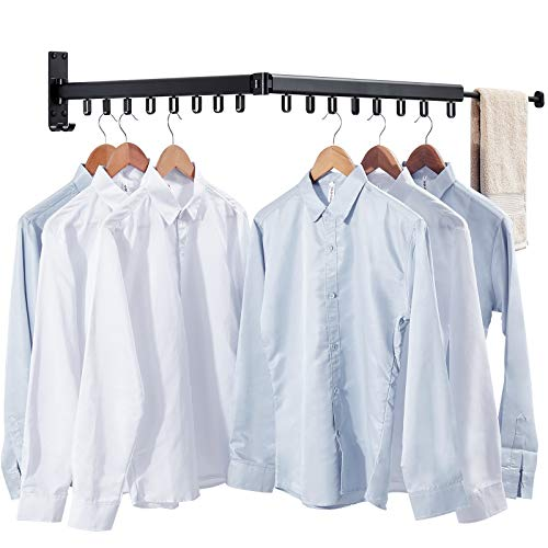 Wall Mounted Clothes Hanger Space-Saver,Retractable Garment Laundry Drying Rack,Collapsible Clothes Dry Racks for Balcony Mudroom Bedroom