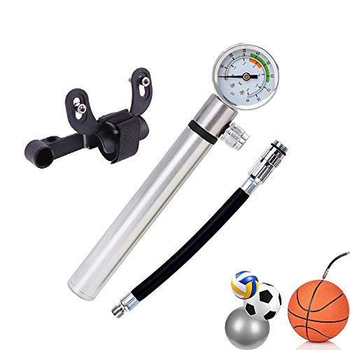 Struggling D Small Bike Pump with Gauge,Mini Bicycle Tire Pump,Silver Mini Bike Pump Portable- Aluminum Alloy-Schrader & Presta Dual Valves Bike Pump for Road, Mountain Bikes