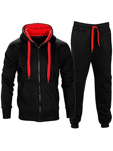 Noroze - Tuta da ginnastica da uomo in pile composta da felpa con cappuccio e pantaloni, con coulisse a contrasto. nero/rosso L