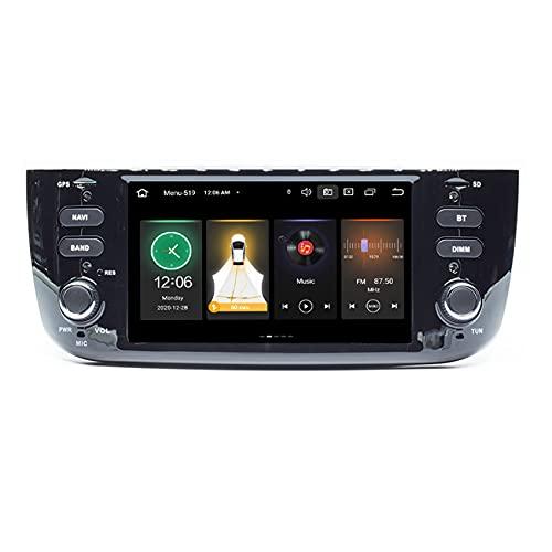 Amimilili Estéreo de Radio de automóvil 7 Pulgadas y de cámara Trasera para Fiat/Linea/Punto EVO 2012-2015, admite la navegación GPS SWC USB Bluetooth RDS Carplay SWC,8core WiFi 4+64+Rear Camera