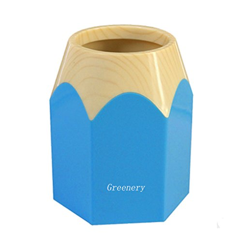 New Creative Pencil Tip Design Pen Pencil Holder Office Home Makeup Brush Pot Cabinet Desk Pencil Cup Tidy Stationery Study Work Supplies Organizer Desk Container Box Blue