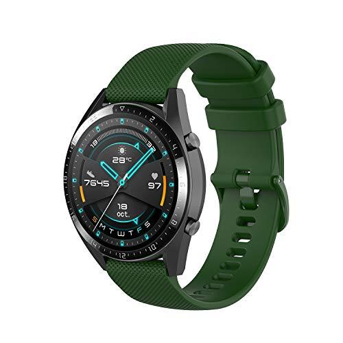 Wownadu 22MM Correa Compatible con Fossil Gen 5, Galaxy Watch 3 45MM Correa, Pulsera Deportiva Silicona Verde Repuesto Compatible con Garmin Vivoactive 4 (Sin Reloj)