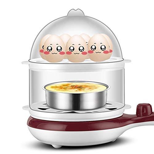 QHAI Œufriers, générique 3 en 1 Multi-Fonction électrique Egg Cooker, jusqu'à 14 Oeufs chaudière à Vapeur Fry Double Couche Outils de Cuisson,Marron