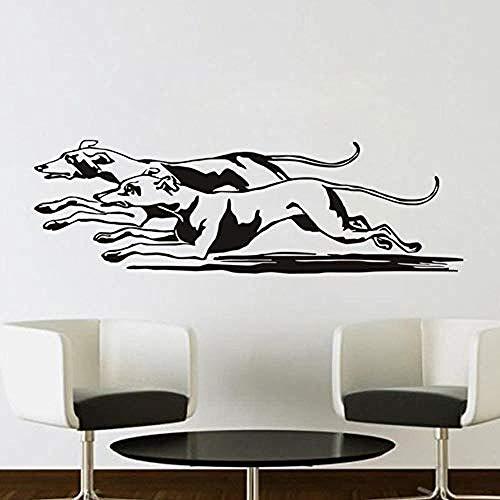 Wandtattoos Paar rennender Hund Wandtattoos Heimtextilien Wohnzimmer Junge Schlafzimmer Wandtattoos 42x136cm
