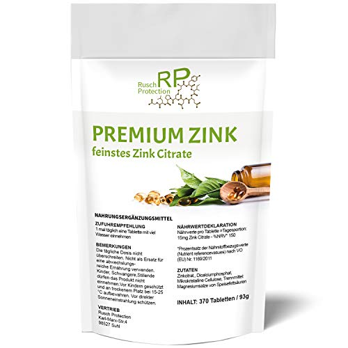 370 Tabletten - Premium Zink, feinstes Zink-Citrate, 100% Vegan und Hochdosiert, Zink-Tabletten Jahresvorrat, Nahrungsergänzungsmittel aus Deutschland mit 15 mg bioverfügbarem Zink pro Tablette