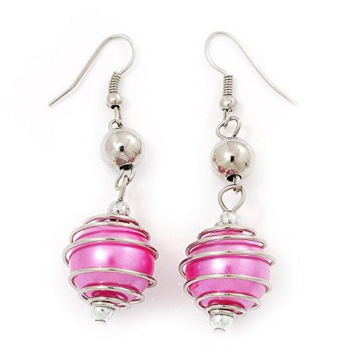 Silver Tone Fuchsia Pink Faux Pearl Drop Earrings - 5cm Drop