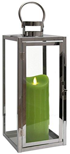 Dekovita 50cm Edelstahl-Laterne - Gartenlaterne inkl. 23cm LED Echtwachskerze Grün Wachstropfen mit 5h-Timer