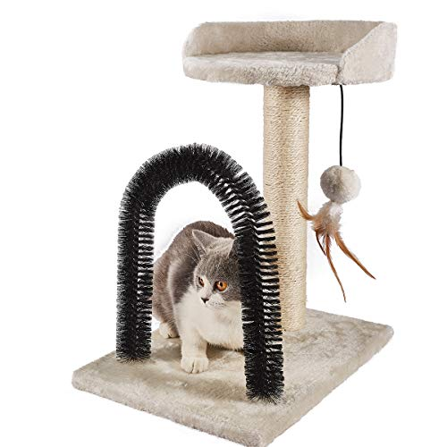 PEEKAB Cat Scratching Post with Cat Tower Tree and Cats Arch Self Groomer Massager Brush Kitty Ball Toys for Kittens and Small Cats