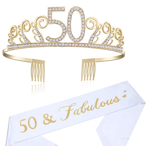 Coucoland Geburtstag Krone mit Geburtstag Schärpe Satin Birthday Crown and Sash Set Geburtstagsdeko Geschenk für Damen Geburtstag Party Accessoires (50 Jahre alt - Gold)