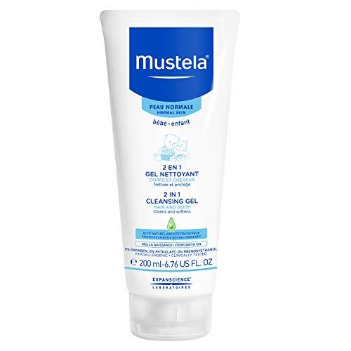 Mustela 2 in 1 Cleansing Gel, Baby Body & Hair Cleanser for Normal Skin,6.76 Fl Oz
