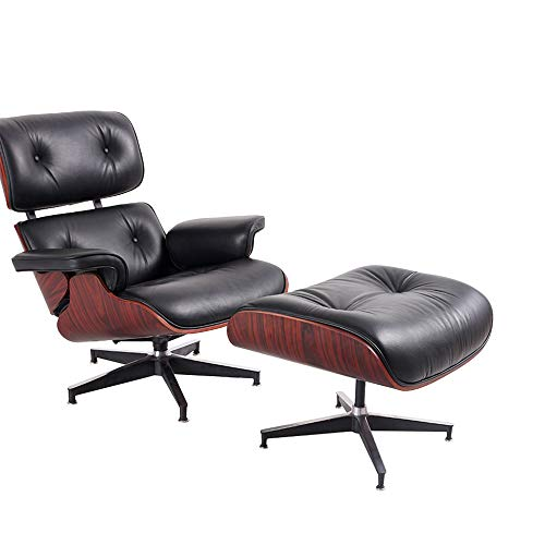 Mid Century Lounge Chair and Ottoman Replica-Full Grain Leather 8 Layers Solid Walnut Wood Chair with Aluminum Base Modern Chaise for Bedroom Living Room Office