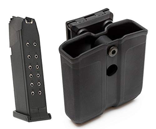 MAXXPRO OWB Polymer Double Magazine Holster Ambidextrous Carrier, Fits 9mm/.40 Calibers Double Stack Magazines of Glock 17/19/22/23/26/27/31/32/33/34/35/37/38/39 and S&W M&P, No Magazine Included