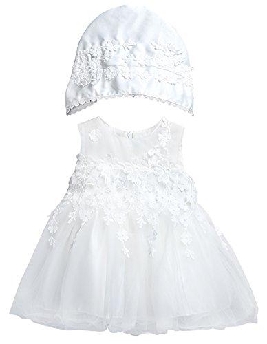 Happy Cherry Baby Mädchen Hochzeitkleid Vollmond Kleid Taufkleid mit Mütze Blumenmädchenkleid Festlich Kleid Partykleid Prinzessin Blütenblätter Kleid