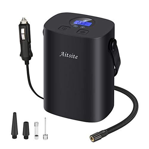 Aitsite Digital para inflar con Aire para los neumáticos, la Bomba de Aire para el Coche 12V 100W 150 PSI neumático del para los neumáticos Bomba automática de neumáticos de iluminación LED y Cable