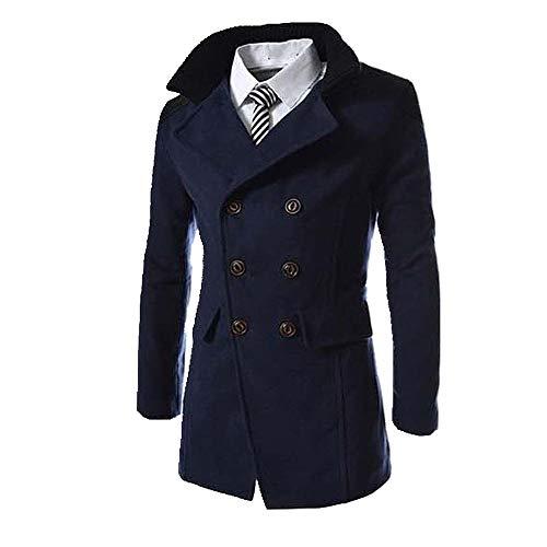 N\P Abrigo de lana para hombre de otoño e invierno con doble botonadura