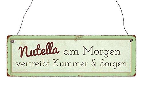 Interluxe Holzschild Nutella AM *(Morgen)* Lustig Geschenk Dekoration Spruch Shabby Frühstück