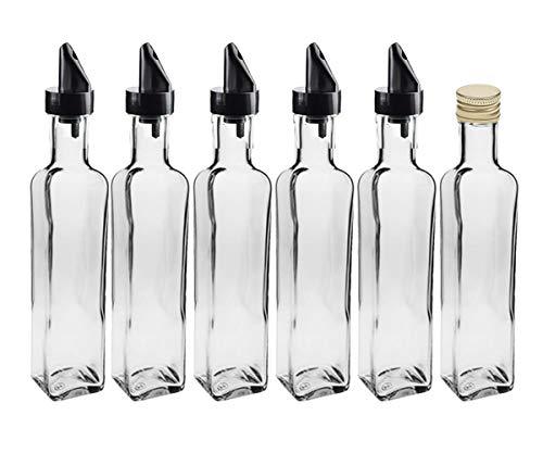 Glasflaschen Set mit | 12 teilig | Füllmenge 500 ml | Deckelfarbe Gold | 6 Maras 6 Ausgießer für Dressing Saftflaschen Likörflaschen Setzen Sie ganz einfach Ihr eigenes Öl an
