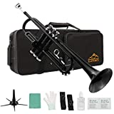 Eastrock Standard Brass Bb Black Trumpet Set for Student Beginner Brass Instrument with Hard Case, Gloves, 7C Mouthpiece, Valve Oil and Trumpet Cleaning Kit