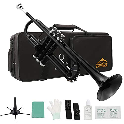 Eastrock Black Brass Standard Bb Trumpet Instrument with Hard Case,Five Legs Trumpet Stand,Gloves, 7C Mouthpiece and Valve Oil for Student Beginner
