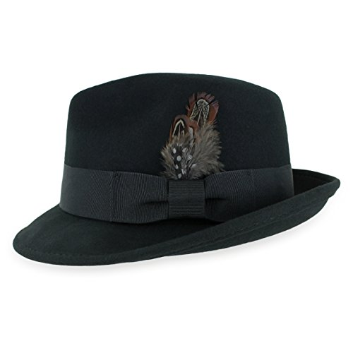 Belfry Trilby Men/Women Snap Brim Vintage Style Dress Fedora Hat 100% Pure Wool Felt Available in Black, Grey, Pecan (L,Black)