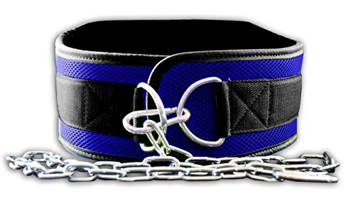Fire Team Fit Weight Belt with Chain, Dip Belt for Weighted Pull Ups and Dips Blue, Small (for Waist 40 Inches or Less)