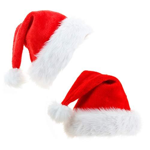 Yull Store 2 Stück Weihnachtsmützen Plüsch Rand Flauschige Nikolausmütze Weihnachtsfeier Party Urlaub Dekoration Rot Santa Mütze