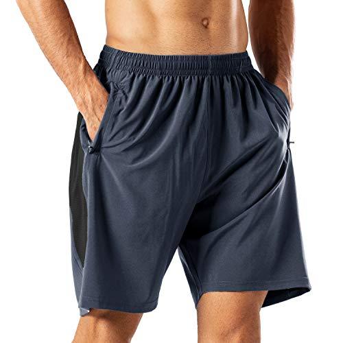Herren Sport Shorts Schnell Trocknend Kurze Hose mit Reißverschlusstasch(Grau,M)