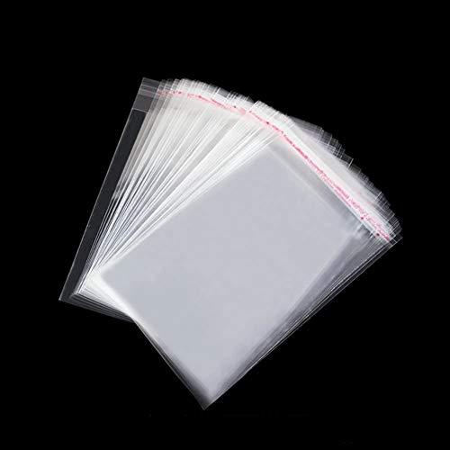 Tomkity 200pcs 7 * 12cm Bolsas de Celofán Transparente Plastico OPP con Cierre Autocierre Banda Autodhesiva para Caramelo Bombones Regalos (7 * 12cm con Adhesivo)