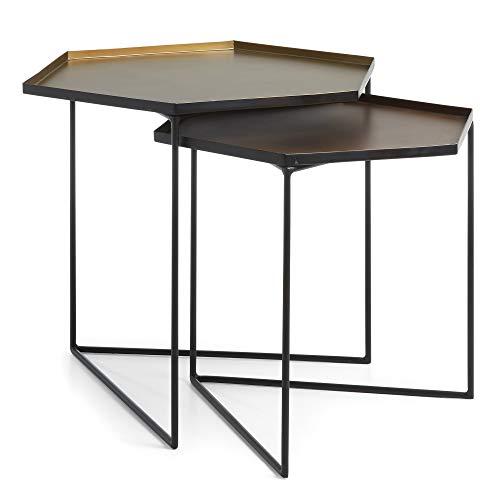 Kave Home - Set de 2 mesas auxiliares Vinker Rectangular 57 x 47/50 x 42 cm de Acero con sobre en Cobre y latón y Patas de Acero en Negro