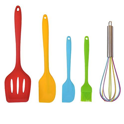 AMOE Utensilios Cocina de Silicona, 5 piezas Espátulas de Silicona Paleta Utensilios Cocina, cocina antiadherente resistente al calor herramienta
