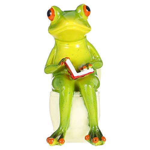 Doitool Figuras de Rana Estatua de Mesa Divertido Rana Verde Escultura Pastel Topper Juguetes para Decoración de Escritorio de Oficina en Casa