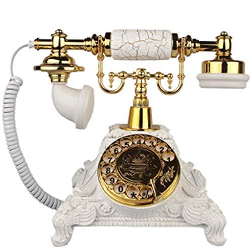 Teléfono clásico Vintage/Estilo Vintage/Dial Giratorio Teléfono Fijo de Oficina Retro para el hogar - Dorado Blanco