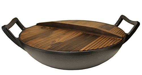 Kasian House Cast Iron Wok, Pre-Seasoned with Wooden Lid 12' Diameter and Large Handles, Stir Fry Pan
