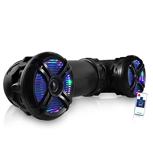 "Pyle Marine ATV Powered Speakers - 4.0 Wireless Bluetooth, 800 Watt, Color Changing LED Lights, IP44 Waterproof, 6.5"" Dual Audio Sound System for UTV, Golf Carts, Jetski and Snowmobile - PLATV65BT.5"