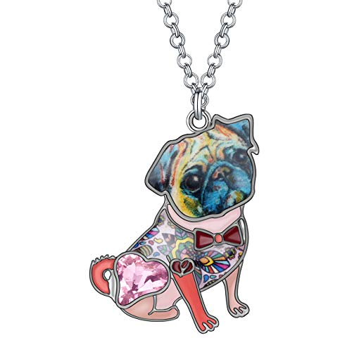 DUOWEI Metal Enamel French Bull Dog Dog Necklace Heart Shaped Rhinestone Pets Pendant Jewelry Silver Chain Original Design (Pink)