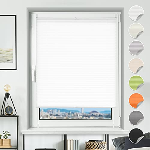 BondFree Plissee ohne Bohren Weiß 35x100cm(BXH) lichtdurchlässig & Blickdicht Faltrollos EasyFix Klemmrollo für Fenster & Tür