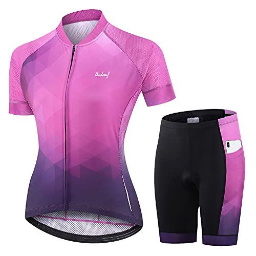 BALEAF Women's Cycling Jersey Set Short Sleeve with 3D Padded Bike Shorts Breathable Shirt Pockets Purple Size L