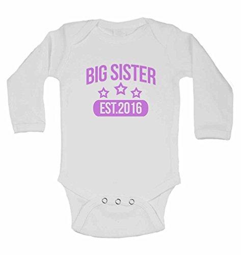 Big Sister EST.2016 – Body à manches longues personnalisé pour bébé fille – Blanc – 2 à 3 ans