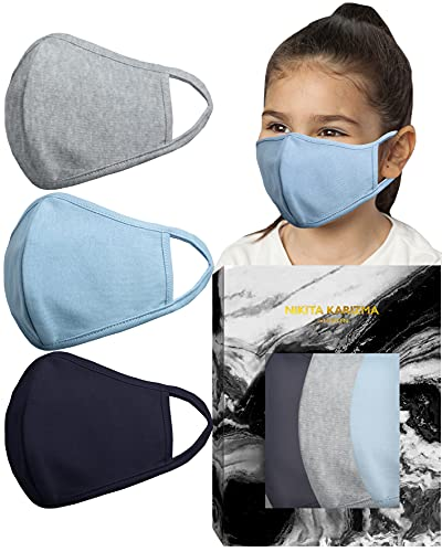 Stretch Sculpt Kids in Blue and Greys Face Masks by KARIZMA Fabric Face Mask 3 Kids Masks Childrens
