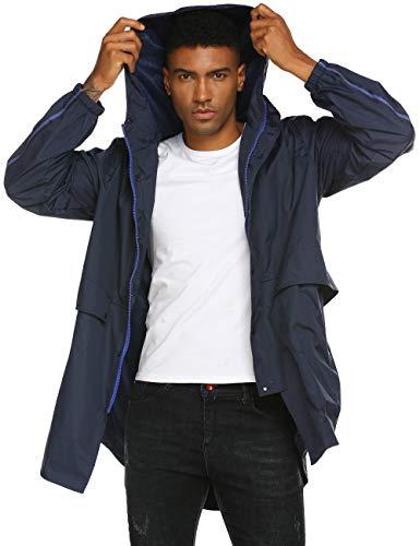 Avoogue - Chaqueta impermeable para hombre transpirable con capucha cortavientos para todo tipo de clima, Chaqueta azul marino para hombre., Medium