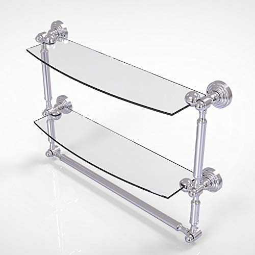 Allied Brass WP-34TB/18 Waverly Place Collection 18 Inch Two Tiered Integrated Towel Bar Glass Shelf, Satin Chrome