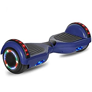 """CHO POWER SPORTS Hoverboard 6.5"""" inch Wheel Electric Smart Self Balancing Scooter with Built-in Wireless Speaker Shiny LED Wheels and Side Lights Safety Certified (Chrome Blue)"""