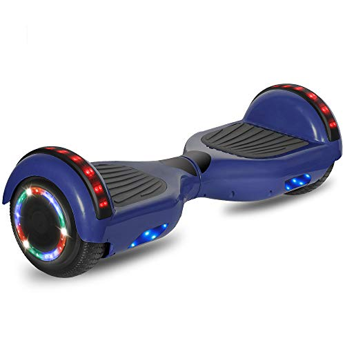 "CHO POWER SPORTS Hoverboard 6.5"" inch Wheel Electric Smart Self Balancing Scooter with Built-in Wireless Speaker Shiny LED Wheels and Side Lights Safety Certified (Chrome Blue)"